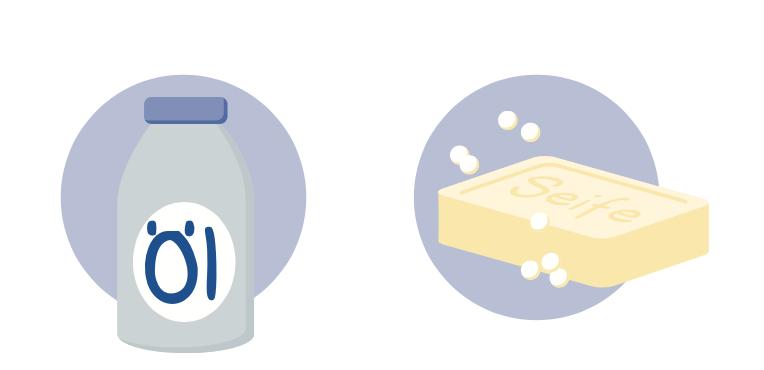Illustration Baby-Öl und neutrale Seife